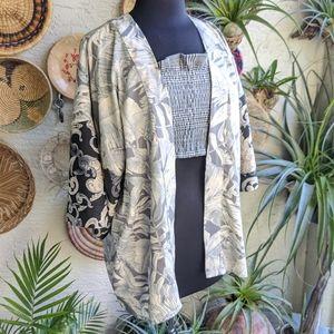 Tropical Kimono Palm Gray Bohemian Print Hippie